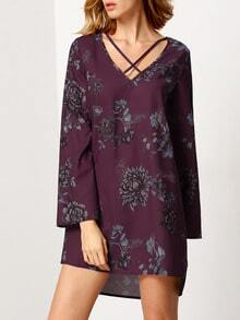 Purple Challis Long Sleeve V Neck Retro Flowery Floral Dress