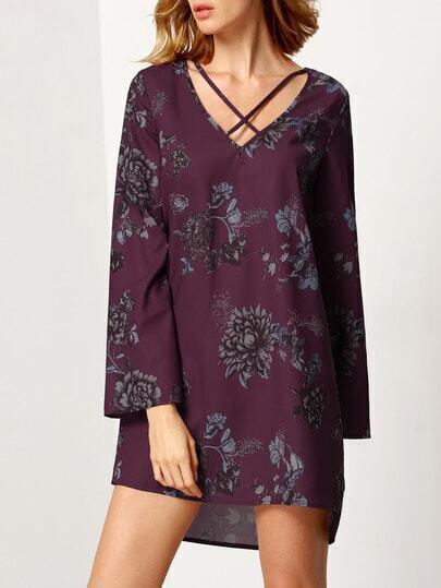 Purple Long Sleeve V Neck Floral Dress