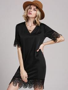 Black Lbd V Neck With Lace Dress