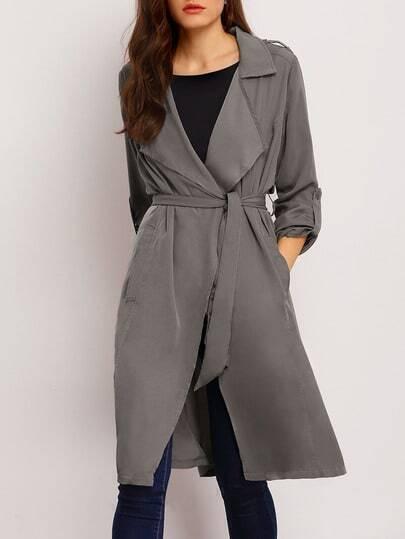 Grey Long Sleeve Lapel Pockets Trench Coat