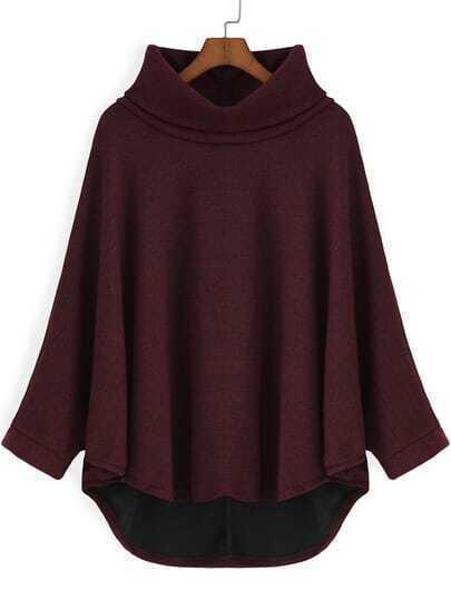 Wine Red High Neck Dip Hem Loose Sweatshirt