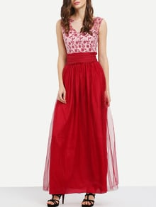 Red Georgette Shantung Multiway Sleeveless Backless Colorblock Elegantly Mesh Infinity Maxi Dress