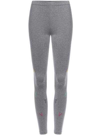Grey Slim Embroidered Knit Leggings