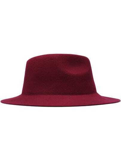 Wine Red Casual Round Oversize Hat