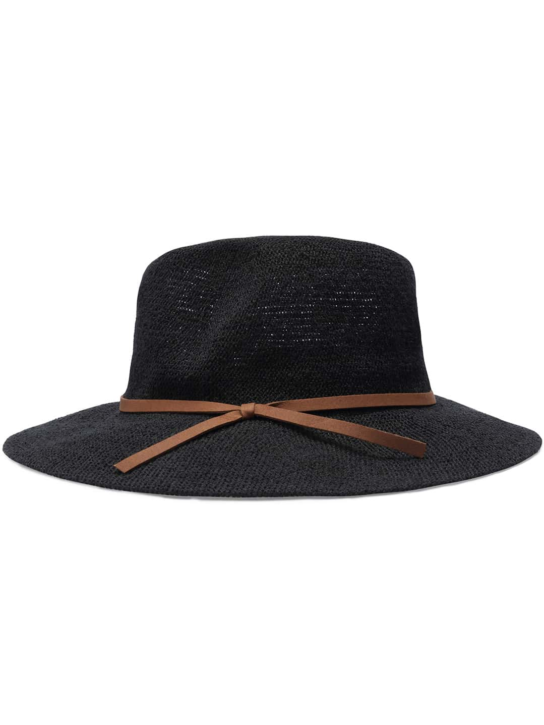 Black Casual Leather Belt Embellished Hat