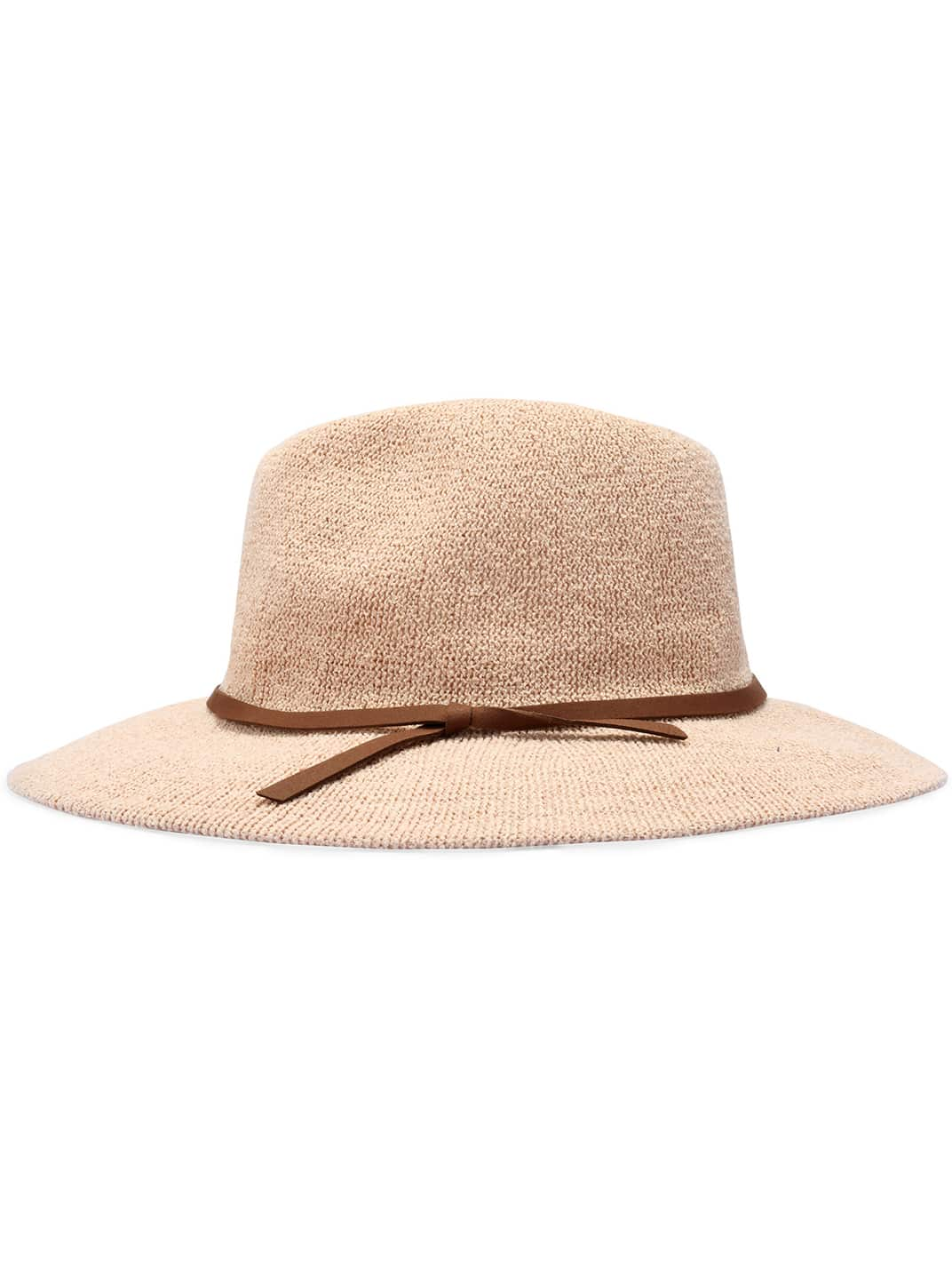 Apricot Casual Leather Belt Embellished Hat