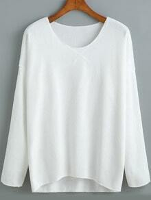 White V Neck Loose Casual T-Shirt