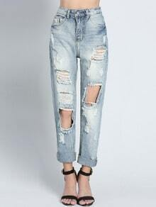 Blue Casual Bleached Ripped Denim Pant