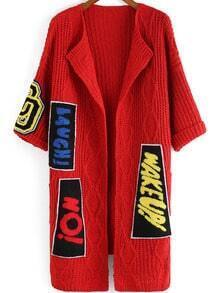 Red Patch Embellished Knit Sweater Coat