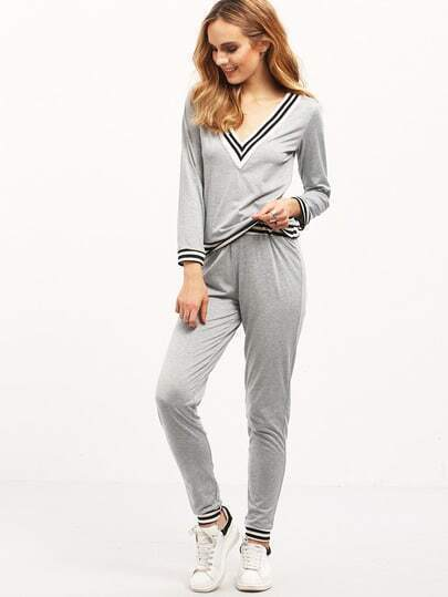 Grey Casual V Neck Striped Top With Pant