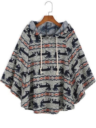 Grey Black Hooded Deer Print Cape Coat