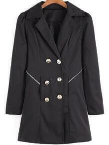 Black Lapel Double Breasted Loose Coat