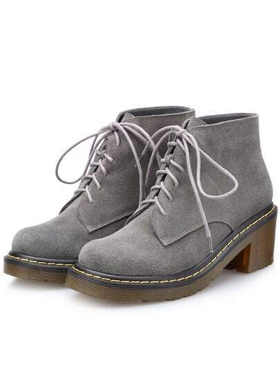 Grey Vintage Chunky Heel Round Toe Boots