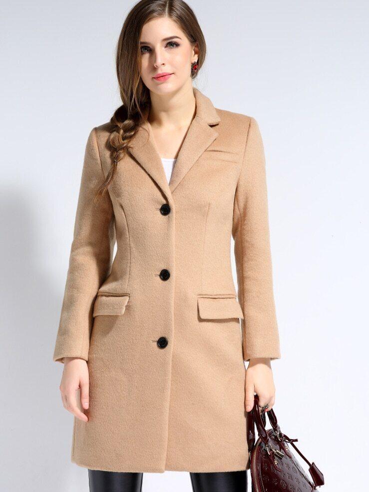 Camel V Neck Long Sleeve Wool-blend Coat