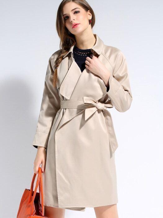 Apricot Wide Lapel Long Sleeve Tie-Waist Coat