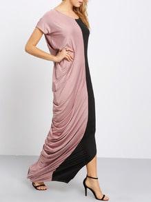 Color-block Raglan Slit Maxi Dress