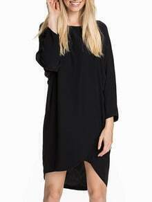 Black Baggy Long Sleeve Bat Sleeve High Low Wraped Dress