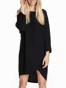 Black Baggy Long Sleeve Bat Sleeve High Low Wraped Dress