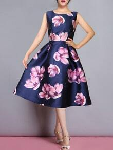 Navy Challis Shirtwaist Sleeveless Flowery Florals Flare Dress