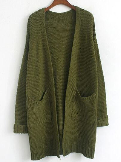 Army Green Long Sleeve Pockets Coat