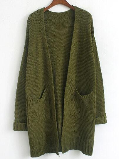 Army Green Long Sleeve Pockets Coat