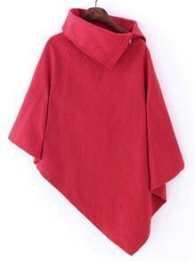 Red Turtleneck Asymmetrical Cape Coat