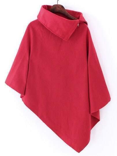 Red Turtleneck Asymmetrical Cape Coat