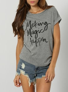 Grey Short Sleeve Letter Print T-Shirt