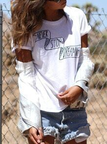 White Short Sleeve Letter Print T-Shirt