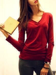 Wine Red V Neck Long Sleeve T-Shirt
