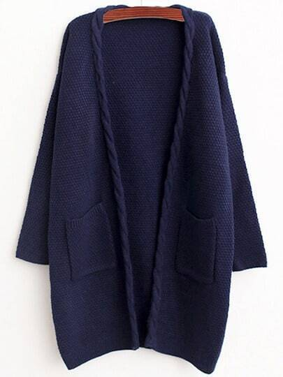 Navy Cable Knit Pockets Loose Cardigan