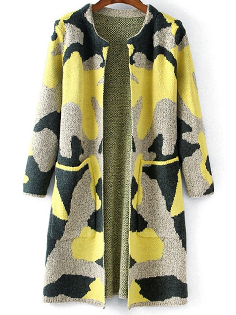 Yellow Grey Camouflage Print Pockets Cardigan