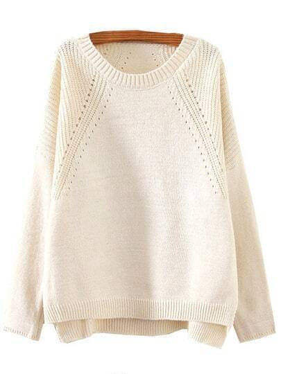 Beige Round Neck Hollow Split Supersoft Knit Sweater