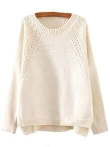 Beige Round Neck Hollow Split Supersoft Knit Sweater