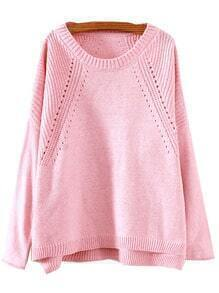 Pink Round Neck Hollow Split Supersoft Knit Sweater