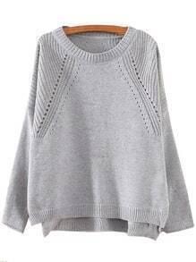 Grey Round Neck Hollow Split Supersoft Knit Sweater