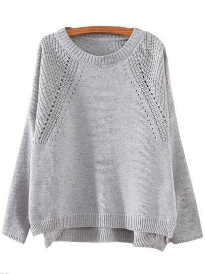 Grey Round Neck Hollow Split Supersoft Knit Sweater