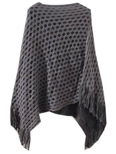 Grey Diamond Patterned Tassel Cape Sweater
