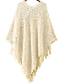 White V Neck Zigzag Pattern Tassel Cape