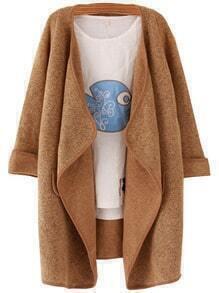 Khaki Lapel Peplum Trims Loose Sweater Coat