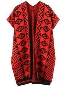 Red Black Tribal Print Split Loose Cardigan