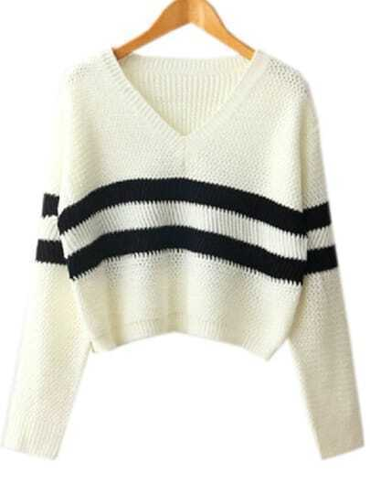White V Neck Striped Crop Knit Sweater