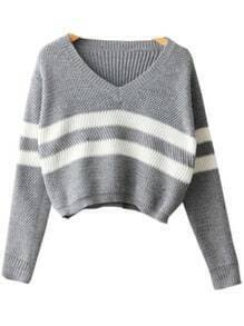 Grey V Neck Striped Crop Knit Sweater