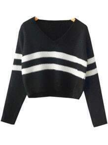 Black V Neck Striped Crop Knit Sweater