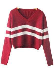 Wine Red V Neck Striped Crop Knit Sweater