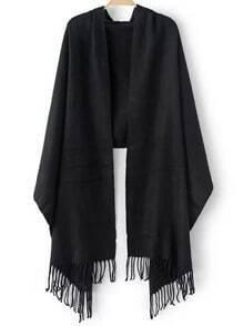 Black Casual Tassel Scarve