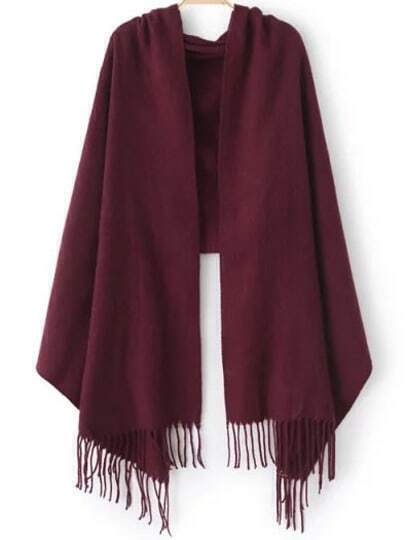 Wine Red Casual Tassel Scarve
