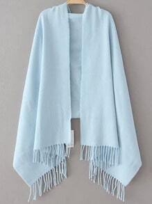 Light Blue Casual Tassel Scarve