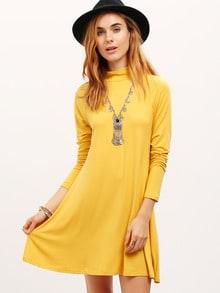 Yellow Lemon Long Sleeve Mock Neck Allure Decent Casual Dress