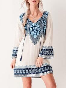 Beige Flutter Lacing Long Sleeve Vintage Print Retro Dress